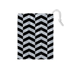 Chevron2 Black Marble & Gray Marble Drawstring Pouch (medium)