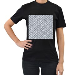 Brick2 Black Marble & Gray Marble (r) Women s T Shirt (black) (two Sided)