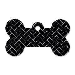 Brick2 Black Marble & Gray Marble Dog Tag Bone (one Side)