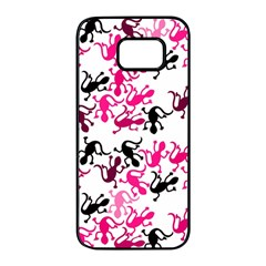 Lizards pattern - magenta Samsung Galaxy S7 edge Black Seamless Case