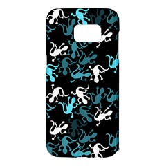 Cyan lizards pattern Samsung Galaxy S7 Edge Hardshell Case