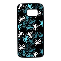 Cyan lizards pattern Samsung Galaxy S7 Black Seamless Case