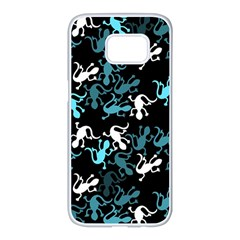 Cyan lizards pattern Samsung Galaxy S7 edge White Seamless Case