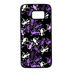 Purple lizards pattern Samsung Galaxy S7 Black Seamless Case