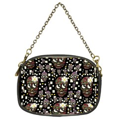 Floral Skulls With Sugar On Chain Purses (one Side)