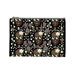 Floral Skulls With Sugar On Cosmetic Bag (large)