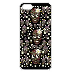 Floral Skulls With Sugar On Apple Iphone 5 Seamless Case (white)