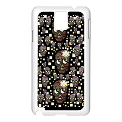 Floral Skulls With Sugar On Samsung Galaxy Note 3 N9005 Case (white)