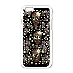 Floral Skulls With Sugar On Apple Iphone 6/6s White Enamel Case