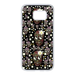 Floral Skulls With Sugar On Samsung Galaxy S7 Edge White Seamless Case