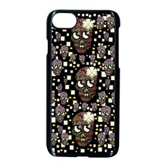 Floral Skulls With Sugar On Apple Iphone 7 Seamless Case (black)