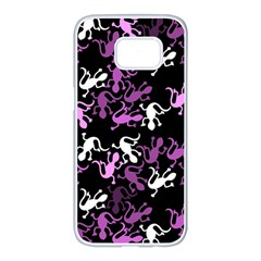 Magenta Lizards pattern Samsung Galaxy S7 edge White Seamless Case