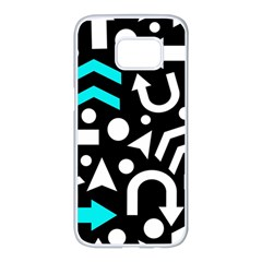 Right direction - cyan Samsung Galaxy S7 edge White Seamless Case