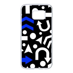 Right Direction   Blue  Samsung Galaxy S7 Edge White Seamless Case