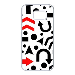 Red right direction Samsung Galaxy S7 edge White Seamless Case