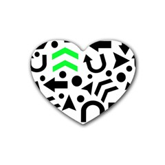 Green Right Direction  Heart Coaster (4 Pack)