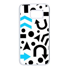 Cyan right direction Samsung Galaxy S7 White Seamless Case