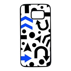 Blue right direction Samsung Galaxy S7 Black Seamless Case