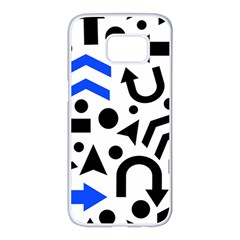 Blue right direction Samsung Galaxy S7 edge White Seamless Case