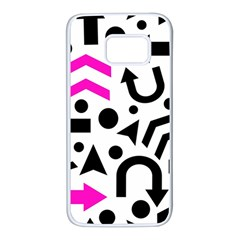 Magenta Right Direction Samsung Galaxy S7 White Seamless Case