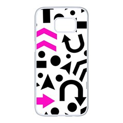 Magenta right direction Samsung Galaxy S7 edge White Seamless Case