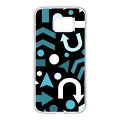 Cyan direction  Samsung Galaxy S7 edge White Seamless Case
