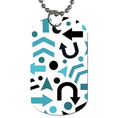 Cyan direction pattern Dog Tag (One Side)