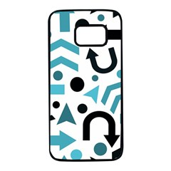 Cyan direction pattern Samsung Galaxy S7 Black Seamless Case