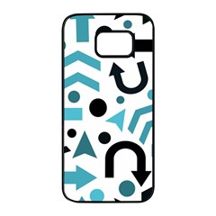 Cyan direction pattern Samsung Galaxy S7 edge Black Seamless Case