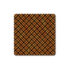 Woven2 Black Marble & Orange Marble Magnet (square)