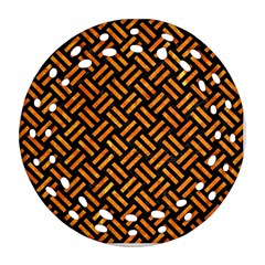 Woven2 Black Marble & Orange Marble Round Filigree Ornament (two Sides)