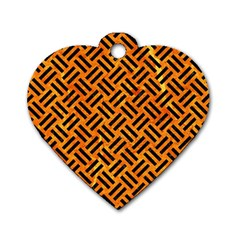Woven2 Black Marble & Orange Marble (r) Dog Tag Heart (one Side)