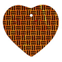 Woven1 Black Marble & Orange Marble (r) Heart Ornament (two Sides)