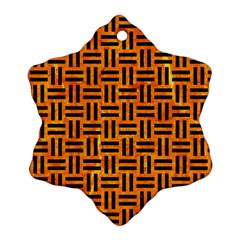 Woven1 Black Marble & Orange Marble (r) Ornament (snowflake)