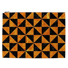 Triangle1 Black Marble & Orange Marble Cosmetic Bag (xxl)