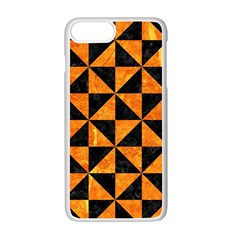 Triangle1 Black Marble & Orange Marble Apple Iphone 7 Plus White Seamless Case