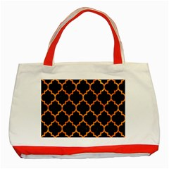Tile1 Black Marble & Orange Marble Classic Tote Bag (red)