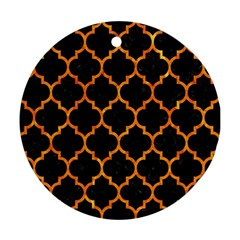 Tile1 Black Marble & Orange Marble Round Ornament (two Sides)