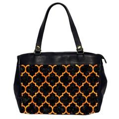 Tile1 Black Marble & Orange Marble Oversize Office Handbag (2 Sides)