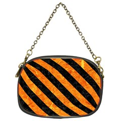 Stripes3 Black Marble & Orange Marble (r) Chain Purse (one Side)