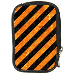 Stripes3 Black Marble & Orange Marble Compact Camera Leather Case