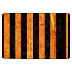 Stripes1 Black Marble & Orange Marble Apple Ipad Air Flip Case