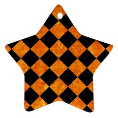 Square2 Black Marble & Orange Marble Star Ornament (two Sides)
