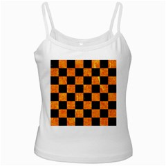 Square1 Black Marble & Orange Marble Ladies Camisole