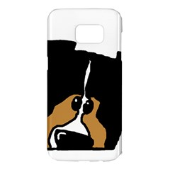 Black Tri Peeping Mini Aussie Dog Samsung Galaxy S7 Edge Hardshell Case
