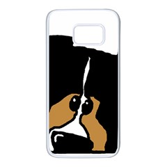 Black Tri Peeping Mini Aussie Dog Samsung Galaxy S7 White Seamless Case