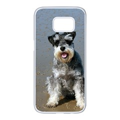 Mini Schnauzer At The Beach Samsung Galaxy S7 edge White Seamless Case