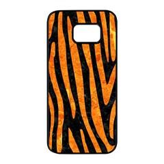 Skin4 Black Marble & Orange Marble (r) Samsung Galaxy S7 Edge Black Seamless Case