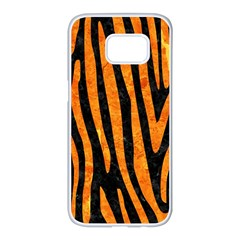 Skin4 Black Marble & Orange Marble (r) Samsung Galaxy S7 Edge White Seamless Case