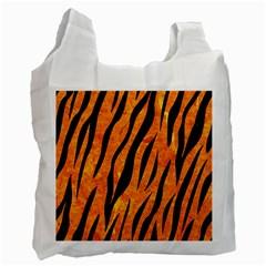 Skin3 Black Marble & Orange Marble (r) Recycle Bag (one Side)
